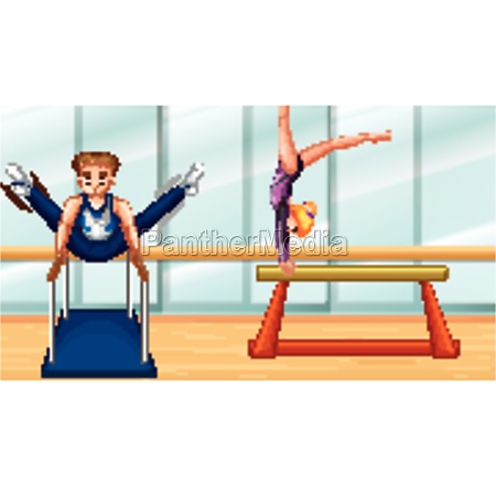 scene with two people doing gymnastic