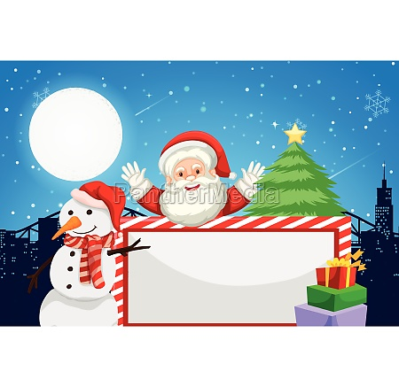 santa and holiday themed blank frame