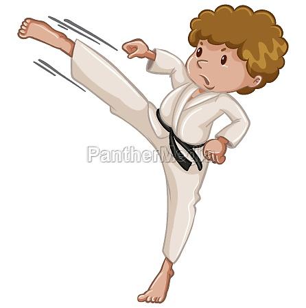 athlete doing karate kick on white