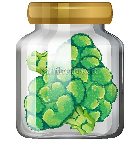 broccoli in the glass jar