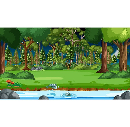 river flow through the forest scene
