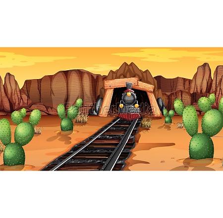 train tracks in desert