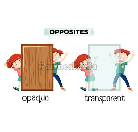 opposite word of opaque and transparent