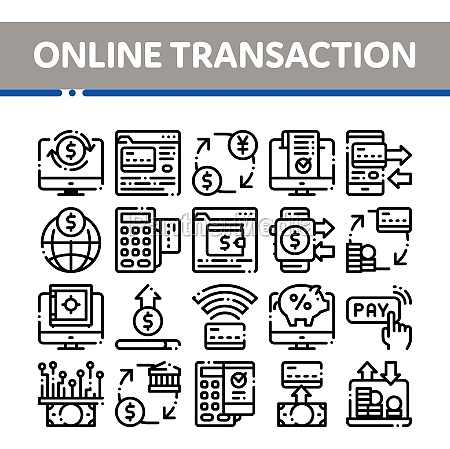 online transactions vector thin line icons