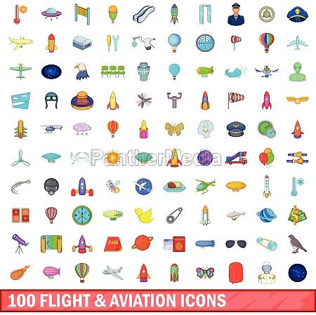 100 flight and aviation icons set