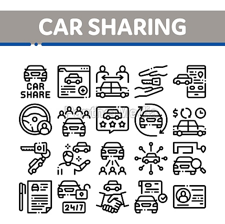 car sharing business collection icons set