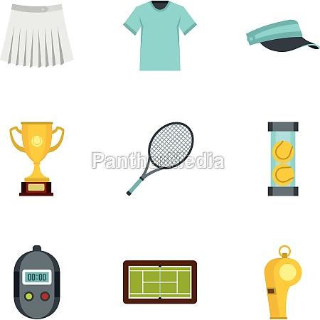 big tennis icons set flat style
