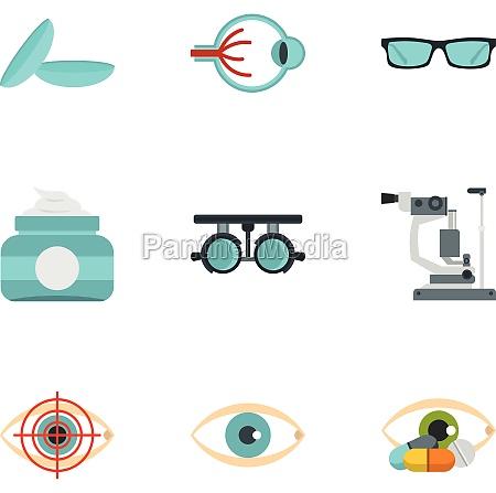 eye diagnostic icons set flat style