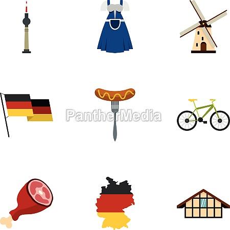 germany elements icons set flat style