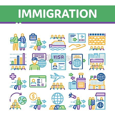 immigration refugee collection icons set vector