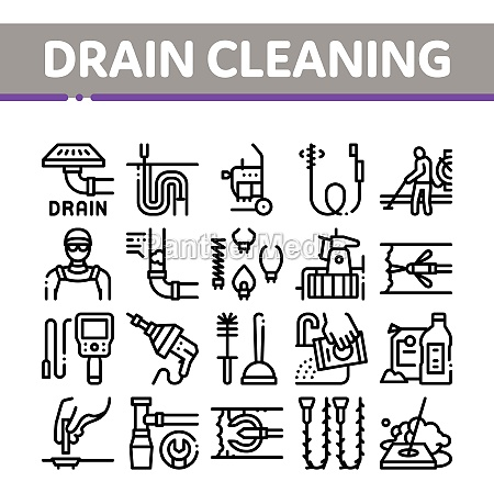 drain cleaning service collection icons set