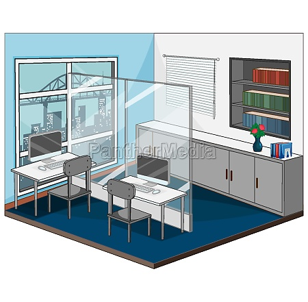 workplace interior with furniture