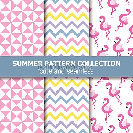 tropical summer pattern collection flamingo theme