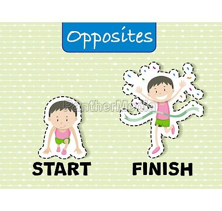 opposite words for start and finish