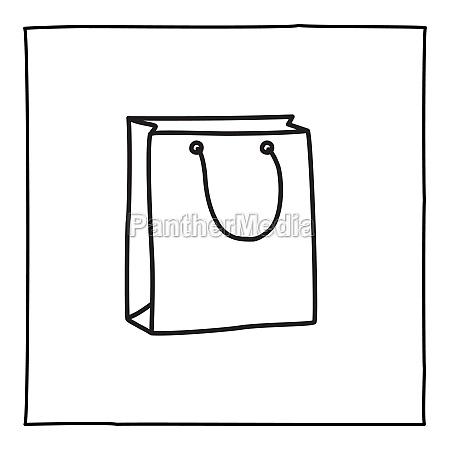 doodle shopping bag icon or logo