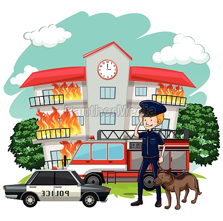 policeman and dog at fire scene