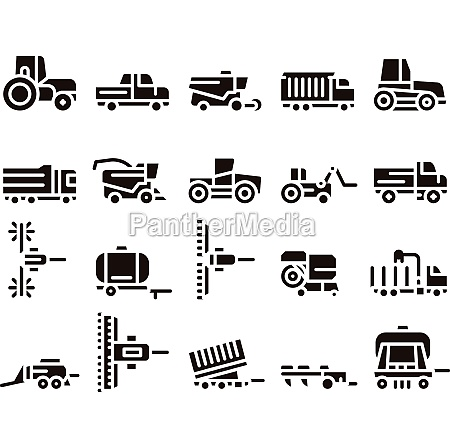 agricultural vehicles glyph icons set vector