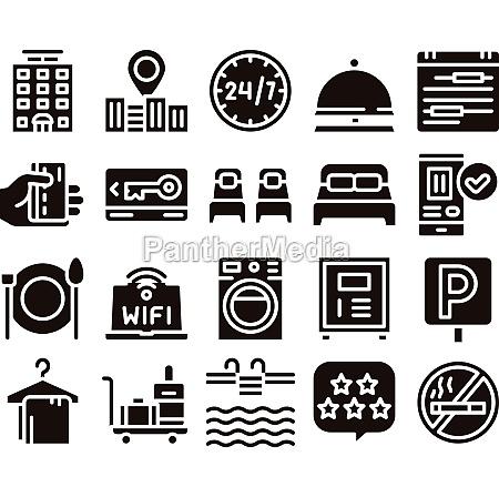hostel elements vector sign icons set