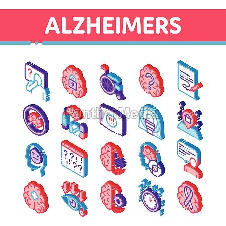 alzheimers disease isometric icons set vector