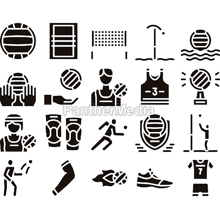 volleyball sport game glyph set vector