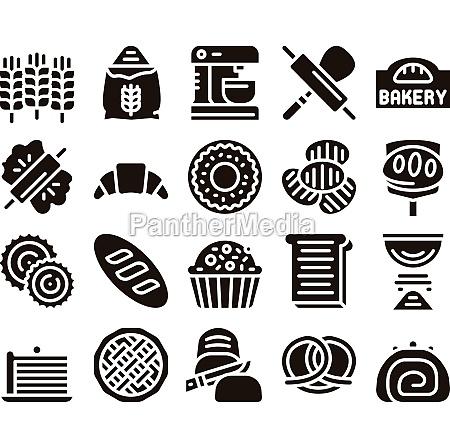 bakery tasty food glyph set vector