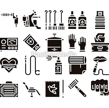 tattoo studio tool glyph set vector