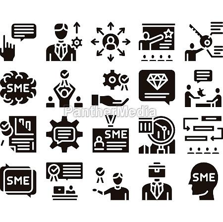 sme business company glyph set vector