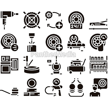 tire fitting service glyph set vector