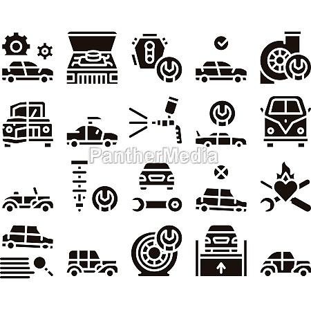 car restoration repair glyph set vector