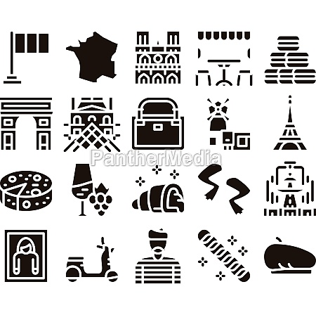 france country travel glyph set vector