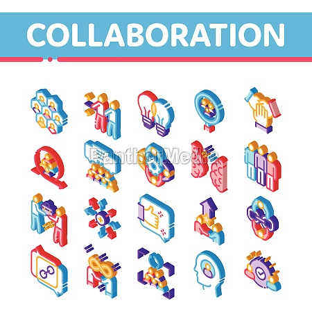collaboration work isometric icons set vector