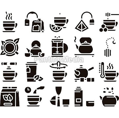 tea ceremony tradition glyph set vector