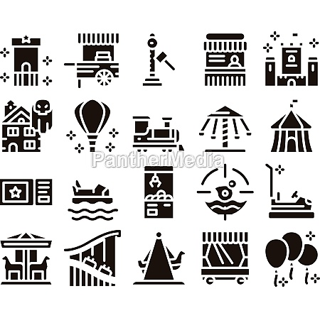 amusement park and attraction icons set