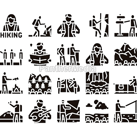 hiking extreme tourism glyph set vector