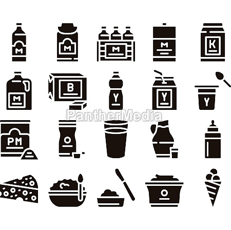 dairy drink and food glyph set