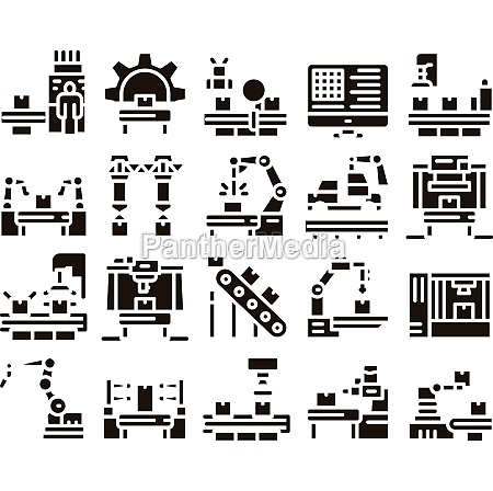 manufacturing process glyph set vector illustrations