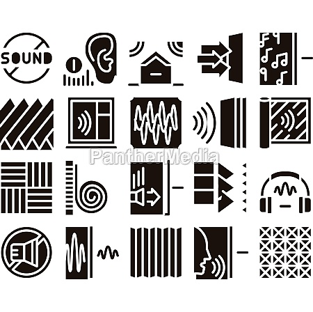 soundproofing building material icons set vector