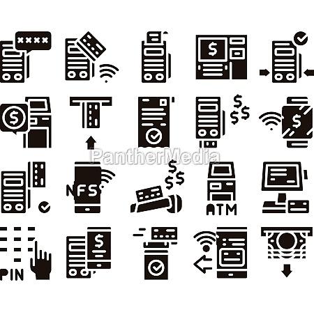 pos terminal device glyph set vector