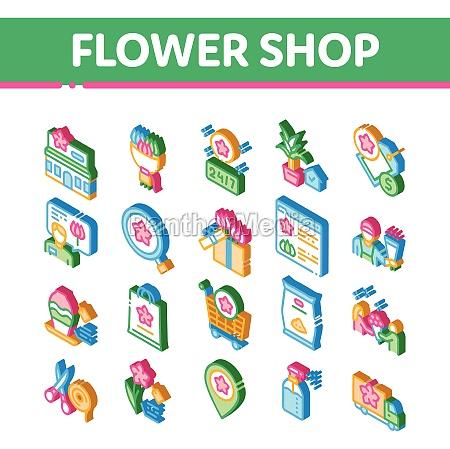flower shop boutique isometric icons set