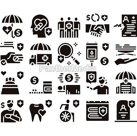 health insurance care glyph set vector
