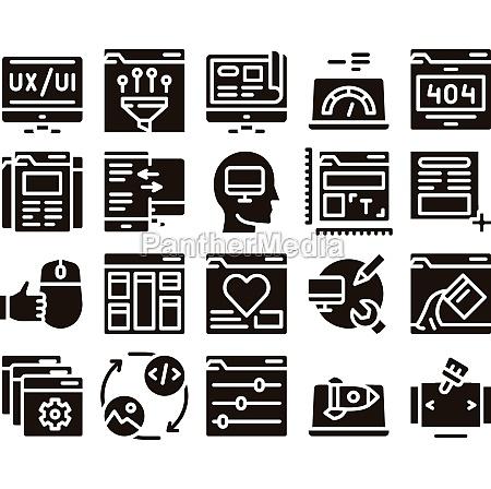 web design development glyph set vector