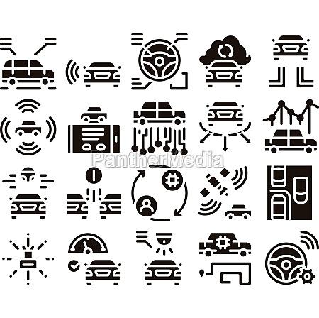 smart car technology glyph set vector