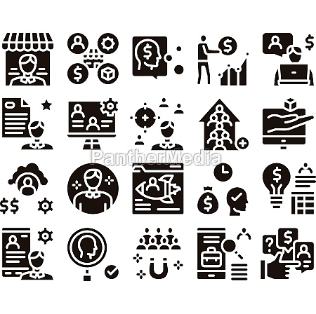 account manager work glyph set vector