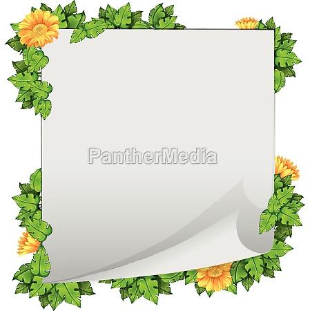 flower and leaf border frame