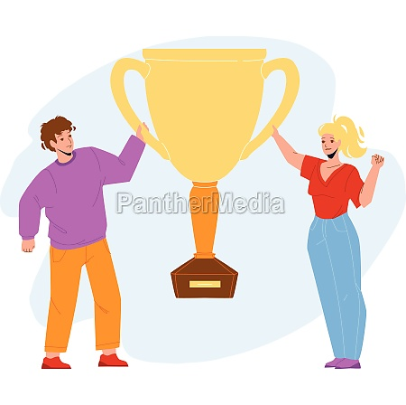 goal achievement celebrate couple with cup