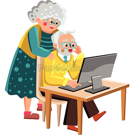 grandma and grandpa working on computer