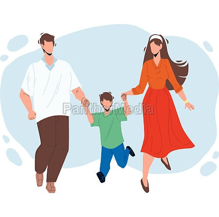 healthy family walking together outdoor vector