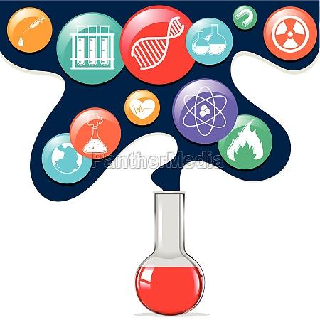 science symbols and glass beaker