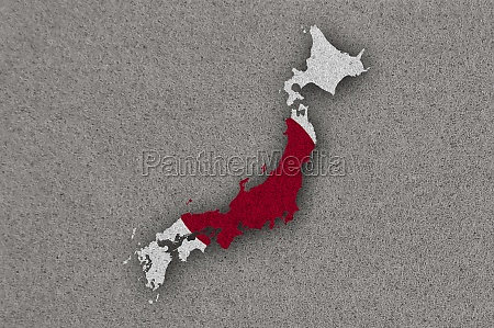 map and flag of japan on