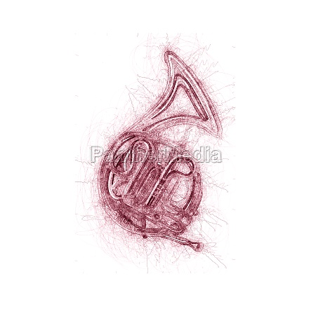 french horn sketch